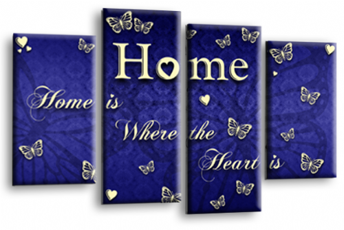 Home Quote Wall Art Print Blue Cream Love Picture